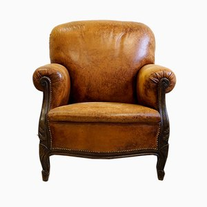 Louis Philippe French Leather and Beech Armchair