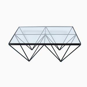 Mesa de centro vintage de vidrio y metal con base Eiffel