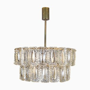 MId-Century German Cascading Glass and Brass Chandelier, 1970s