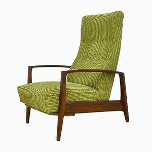 Mid-Century Sessel aus Cord mit Klappbarer Fußstütze, 1960er
