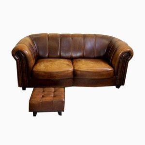 Juego de sofá y reposapiés vintage de cuero de oveja de Joris, años 80