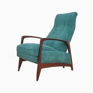 Mid-Century Cord Armchair with Foldable Footrest, 1960s