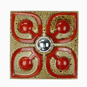 Applique Mid-Century fat lava geometrica in ceramica, set di 2