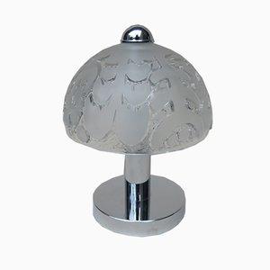 Kleine Mushroom Tischlampen aus Pressglas & Chrom von Peill & Putzler, 1970er, 2er Set