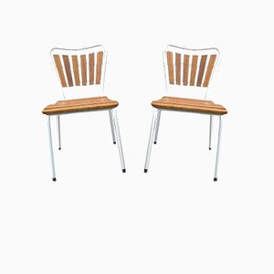 Vintage Danish Teak & Tubular Steel Garden Chairs for Small People from Daneline, Set of 2