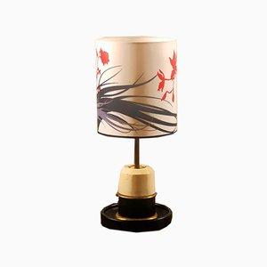 Lampe de Bureau en Cuir et Bois, 1940s