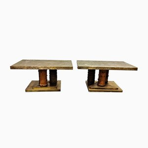 Brutalist Brass Side Tables, 1970s, Set of 2