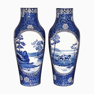19th Century Swedish Porcelain Moose Blue Landscape Vases from Rörstrand, Set of 2