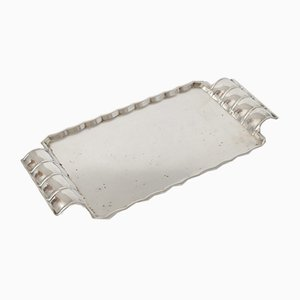 Vintage Art Deco Silver Plated Tray from Sandrik, 1930s