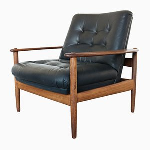 Vintage Teak and Black Leather Easy Chair, 1960s