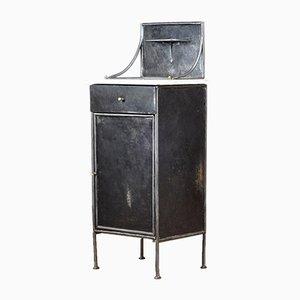 Eisen Nachtschrank mit Marmorplatte, 1920er