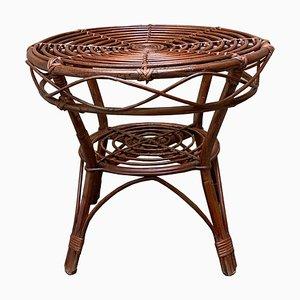 Tavolino da caffè Mid-Century in bambù e vimini, Italia, anni '60