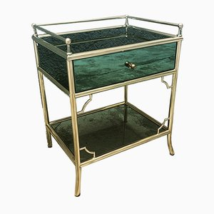 Brass and Glass Nightstands, 1950s, Set of 2