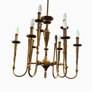 Gilded and Worked Brass Ceiling Lamp, 1950s