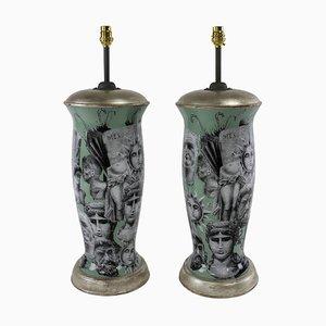Handbemalte Vintage Tischlampen im Stile von Fornasetti, 2er Set