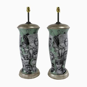 Vintage Hand Painted Table Lamps in the Style of Fornasetti, Set of 2
