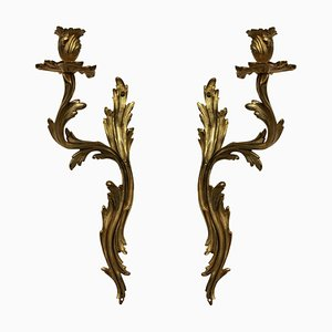 Antike Bronze Wandlampen, 2er Set
