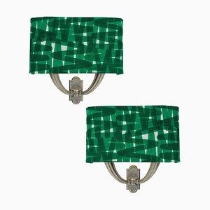 Italienische Wandlampen aus Silber & Stoff, 1950er, 2er Set