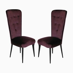 Italian Purple Mohair Velvet Side Chairs, 1950s, Set of 2