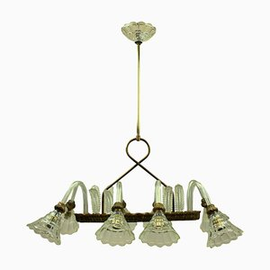 Italian Brass and Glass Chandelier from Barovier & Toso, 1950s