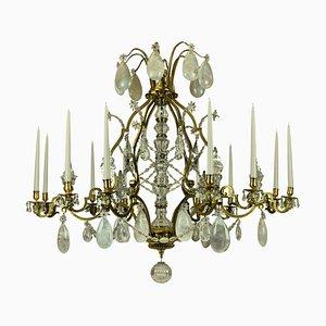 Lámpara de araña francesa antigua de bronce dorado y candelabro de cristal