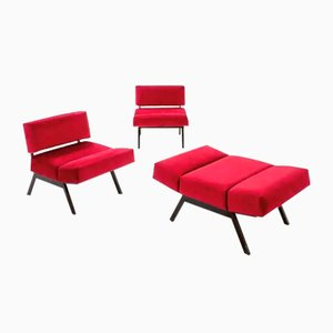 Italian Red Velvet Armchairs by Rito Valla for IPE Brevetti, 1960s, Set of 3