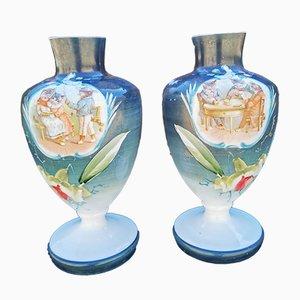 Mid-Century Opaline Vases, Set of 2