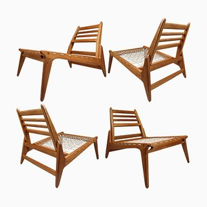 German Hunting Chairs in Oak with Trapezium and Tapered Lines, 1950s, Set of 4