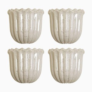 Opal Clear Textured Glass and Brass Tulip Wall Sconce by Doria Leuchten Germany, 1960s