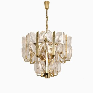 Florida Crystal Glass and Brass Chandelier or Pendant Lamp by J.T. Kalmar, 1960s