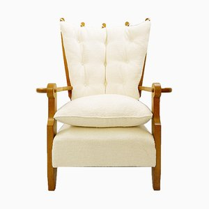 Guillerme & Chambron Carved Oak High Back Armchair, 1960s
