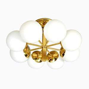 Space Age Atomic Brass Ceiling Lamp with 8 Glass Globes from Kaiser Leuchten, 1960s