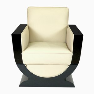 Lounge Chair in Leather and Black Lacquer from ADM Art Déco Moderne