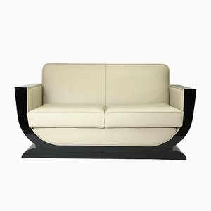 Sofa in Leather and Black Lacquer from ADM Art Déco Moderne