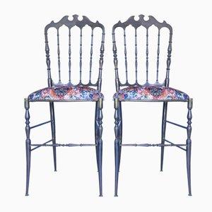 Chaises de Salon Chiavarine Mid-Century en Laiton, Set de 2