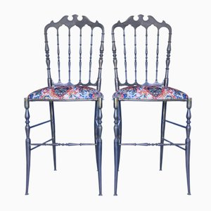 Mid-Century Brass Chiavarine Dining Chairs, Set of 2