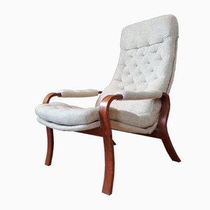 Mid-Century Scandinavian Beech and Chine Fabric Lounge Chair