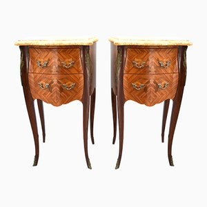 Mid-Century Louis XV Style Marble Top and Rosewood Nightstands, Set of 2