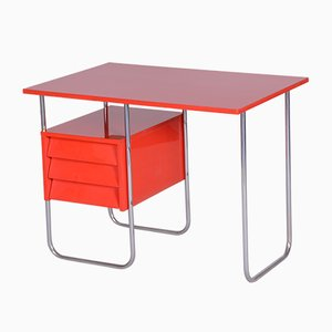 Czech Functionalism Red Chrome Writing Desk, 1940s