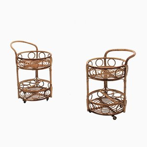 Vintage Bamboo and Rattan Serving Trolleys, Set of 2