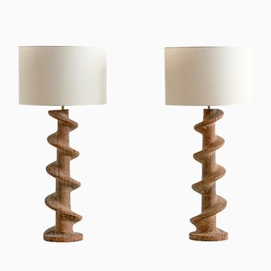 19th Century Belgian Wooden Sprial Screw Base Table Lamps, Set of 2