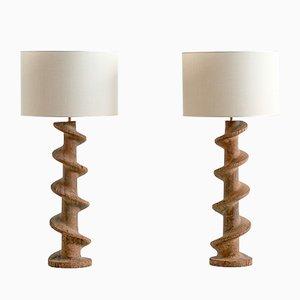 Belgische Tischlampen aus Holz mit Sprial Schrauben, 19. Jh., 2er Set