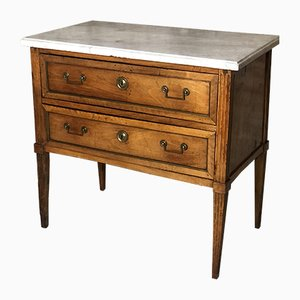 Antique Louis XVI Brass and White Marble Chest of Drawers