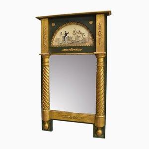Kleiner bemalter Spiegel mit Holzrahmen im Empire Stil aus dem 19. Jh