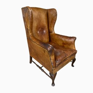 Antique English Wingback Armchair