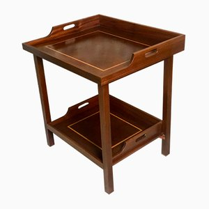 English Marquetry Wooden Side Table, 1950s
