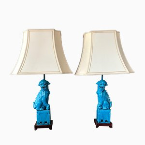 Vintage Chinese Foo Dog Table Lamps, 1920s, Set of 2