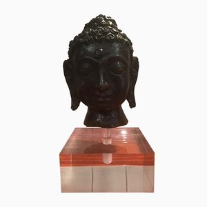 Antique Burmese Bronze Buddha Head with Plexiglas Base, 1900s