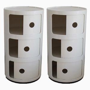 Weiße modulare italienische Kunststoffschränke von Anna Castelli Ferrieri für Kartell, 1970er, 2er Set