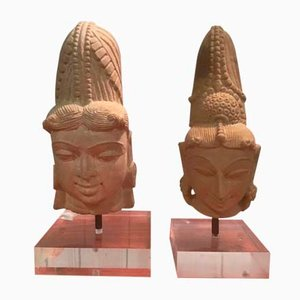 Antique Central American Aztec Stone Heads with Plexiglas Base, Set of 2